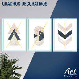 Quadros Decorativos - Kit 3 Quadros Geométricos