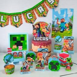 Kit Festa Só um Bolinho Minecraft ( 37 Itens)