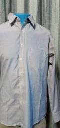 Título do anúncio: Camisa Social Masculina Azul Listrada - Emporio Colombo