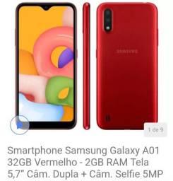 Smartphone Samsung Galaxy A01 32GB Vermelho  <br><br>