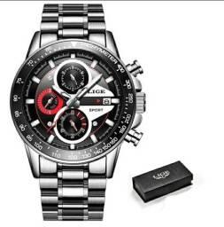 Relógio masculino lige em Aço inoxidável Aprova d'água original quartzo modelo 9835