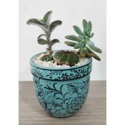 Vaso Porcelana Desenhado Com Suculentas E Cacto