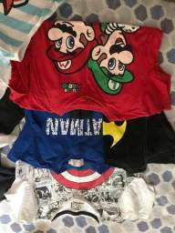 Bermudas e camisas infantis para crianças de até 6 anos de idade