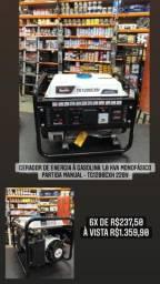 Gerador de energia à gasolina 1,0 kva monofásico partida manual - TG1200CXH 220V