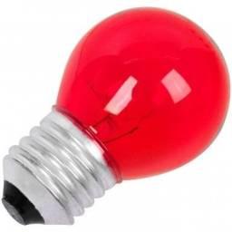 Lâmpada Bolinha Vermelha 15 Watts 127 Volts 16 Unidades