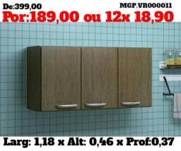 Armario Aereo 1,20 3 Portas - Armario de Cozinha ou Armario de Lavanderia - Novo