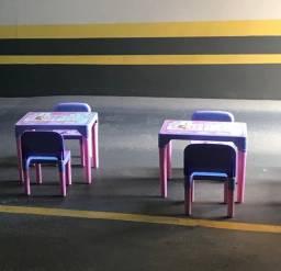 2 Mesa Com 4 Cadeiras E Tabuleiro Divertido Frozen - Multibrink