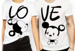 Kit camiseta casal love Mickey e Minnie