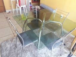Mesa de vidro 4 cadeiras inox- Faço Entrega