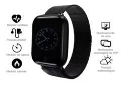 Relógio Smart Watch T80 Batimento Cardíaco com Duas Pulseiras