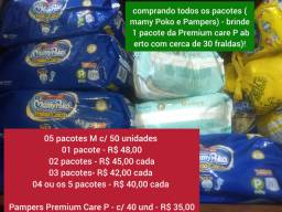 Fraldas mamy Poko e Pampers Premium Care