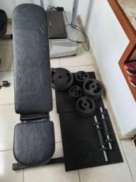 Musculação, anilhas, barras c rosca 40cm  e banco reclinável
