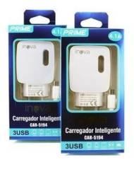 Carregador Prime Inova 4.1a 3-usb Celular Raspberry