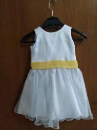 Vestido branco Da minha com faixa Amarela