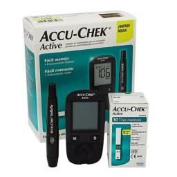Medidor de Glicose Accu Chek completo com tiras