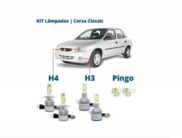 Título do anúncio: Kit Lampada Led H4 Corsa Classic Celta Uno Com Cooler 6000k