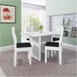 Mesa de Jantar 4 Cadeiras Luiza Branco - Indékes<br><br>