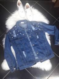 Jaqueta com Pérolas Jeans