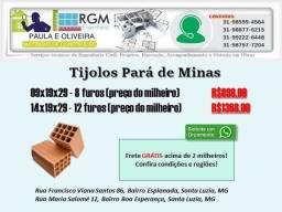 Tijolos Pará de Minas preço imperdível