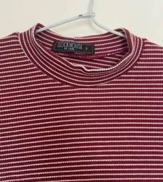 blusa cropped vermelha listrada