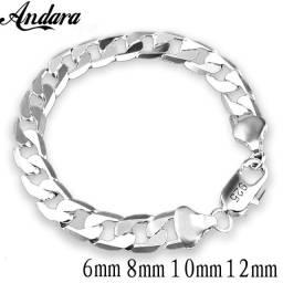 Novo 925 prata esterlina pulseira de lado prata 10 mm Unissex