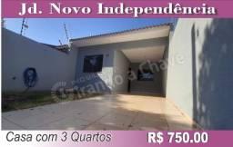 LOCAÇÃO; Casa com 3 quartos no Jd. Novo Independência em Sarandi