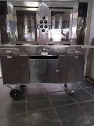 Churrasqueira para Kebab/Churrasco grego c/ motor giratório (carrinho)
