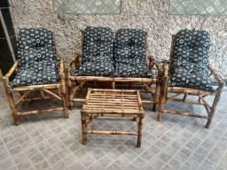 Jogo de sofá de bambu Promoção Fábrica `Pronta Entrega Conjunto Móveis poltronas cadeiras