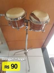 Bongôs (com defeito) + tripé cromado