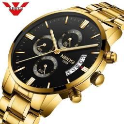 Relógio Masculino Analógico Dourado. Novo. Aceito cartão