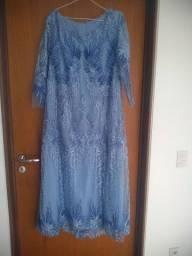 Vestido usado 1 vez azul  lindo degradê_ estilista Vânia Calaça