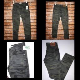 Calça Camuflada Jeans Brim Sarja