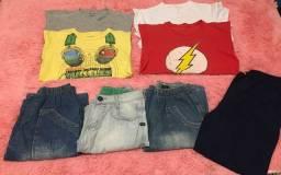 Lote de roupas de menino - tamanho 12 e 14 anos - 8 peças