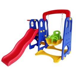 Playground infantil 3 EM 1 - escorrega balanço cesta de basquete