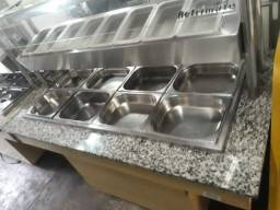 Buffet quente e frio, 8 cubas de cada, inox Refrimat 220v seminovo