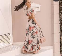 Vestido Longo Rose Flores