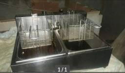 Fritadeira 2 cubas inox semi nova