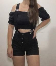 Shorts com suspensório, tamanho P