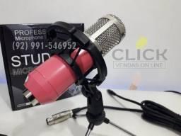 Microfone Condensador com Apoio, Estúdios e gravações, BM 800 Plug p2 (rosa)