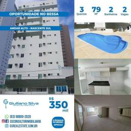 AP0444 - Apartamento no Bessa , 79,95 m², 3 quartos, pisc. elev.