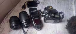 Nikon d90 com lente e flash