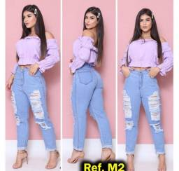 Calça Jeans Feminina Mom Destroyed Cintura Alta,  Moda, tendência 2021,