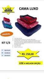 """Cama Luxo quadrada - """" Ziper e Lavável """" - 03 tamanhos - Para Cachorros e Gatos"""