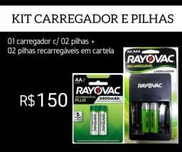 Carregador + cartela de pilha recaregavel
