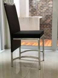 6 Cadeiras de fibra sintética e alumínio