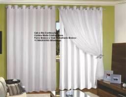 Cortina Maria Cristina News Com Forro Branco de Poliéster x Voal Trab Branco 6 metros