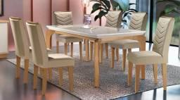 Mesa de Jantar Milão Tampo de Vidro com 6 Cadeiras- Faça seu Pedido * Entrega Ráp
