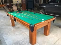 Mesa Madeira de Bilhar Cor Imbuia Tecido Verde Mod. RKMN2134