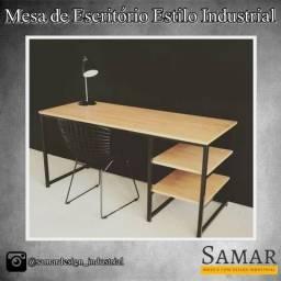Mesa de Escritório Estilo Industrial