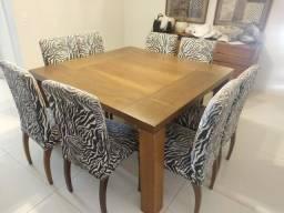 Mesa de jantar de madeira com 8 cadeiras de zebra linda! cozinha luxo